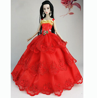 Red Fashion Wedding Gown Dresses Clothes Party For Princess Barbie Doll Gift