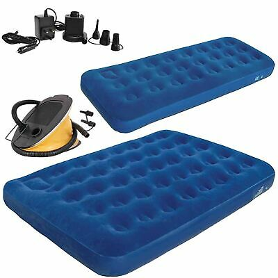 Inflatable Single/Double Flocked Airbed Mattress Camping Air Bed Inflate Pump