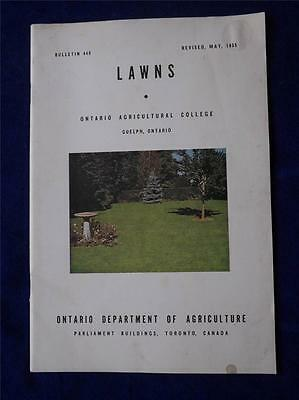Ontario Agricultural College Booklet Guelph Ontario Lawns Manual 1955