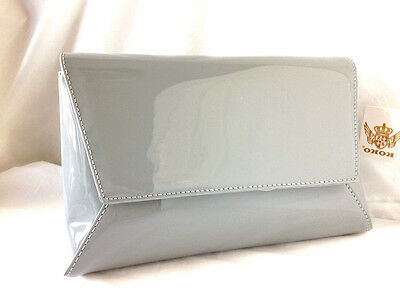 New Light Grey Faux Patent Leather Evening Day Clutch Bag Wedding Prom Party