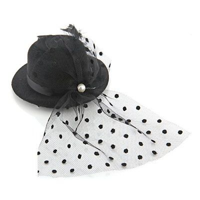 Feather Veil Hair Clip Black Mini Top Hat Party Cosplay Goth FP5