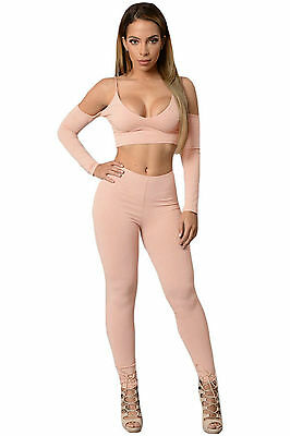 Abito Set aperto Reggiseno pantaloni aderente Cut out Crop Top Tight Pant L