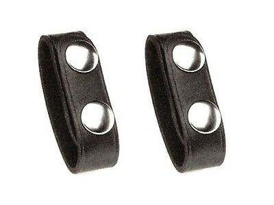 Police Securty Guard Leather Duty Belt Keeper Nickel Snap 2-Pack Plain Black