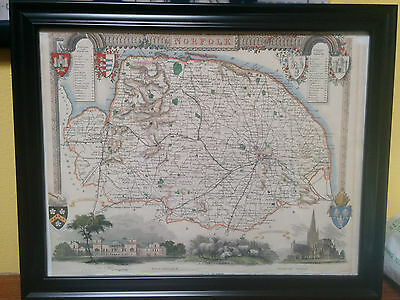 Genuine/Original Map of Norfolk England c.1850 by Thomas Moule FRAMED