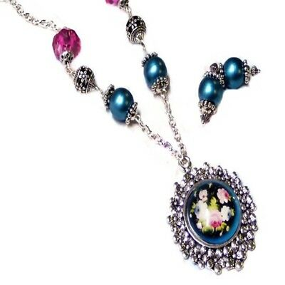 Teal pink pendant glass dome folk art Roses necklace earrings set, any fittings