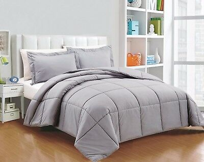 Chezmoi Collection 3-Piece Down Alternative Comforter Set King , Light Gray