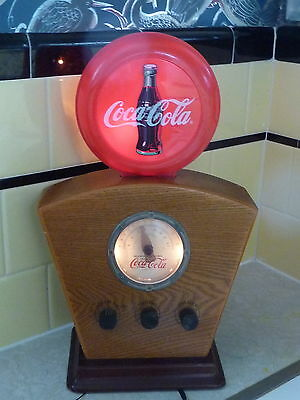 Vintage Coca Cola 1934 Style RED DISC Icon AM/FM Radio 1998 Lights Up Works good