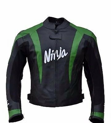 Kawasaki Black And Green Motorbike Leather Jacket - Ce Approved Full Protection