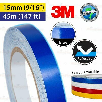 """3M BLUE Reflective Conspicuity PinStriping Vinyl Decal Tape 15mm 9/16"""" 45m 147ft"""