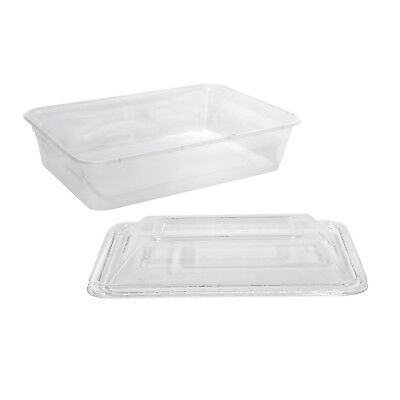 500x Clear Plastic Container w Dome Lid 500mL Rectangle Disposable Chinese NEW
