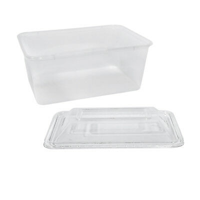 50x Clear Plastic Container w Dome Lid 1000mL Rectangle Disposable Chinese NEW