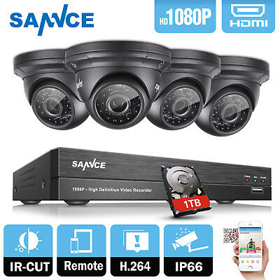 SANNCE 4CH 1080P HD DVR Security CCTV Camera System Night Vision HDMI 24IR 1TB