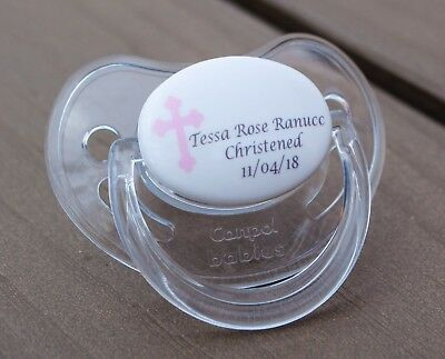 Personalised Dummy Pacifier Soother, All Teats,sizes & Colours, Christening Girl