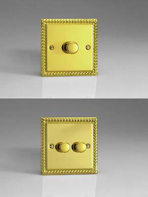 Georgian Brass Plated V-Plus Push On/Push Off Dimmers - Gang Size & Wattage
