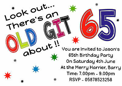FUN Personalised ALL AGES Birthday Party Invitations 40th 50th 60th 65th 70th
