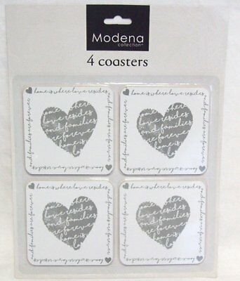 Set of 4 Home Is Where Love Resides Vintage Heart Cork Cup Coaster Place Mats