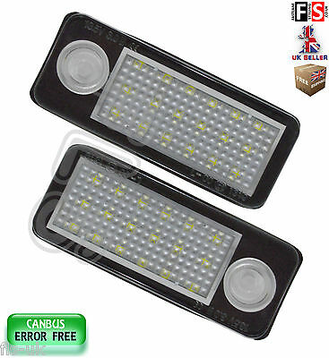Audi A6 4B C5 License Number Plate Lights Led White 18Smd Canbus Error Free