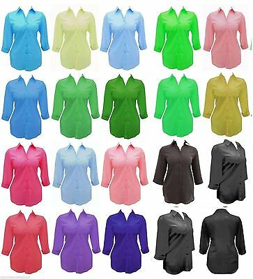 Ladies new plus size 16 - 34 shirt blouse 3/4 sleeve many colours Womens LICK