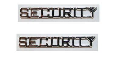 2 SECURITY Guard Officer Silver Nickel Uniform Collar Brass Insignia Pins 1/2""