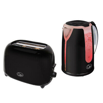 Black 1.7L 2200W Dual Illuminated Cordless Electric Jug Kettle + Toaster