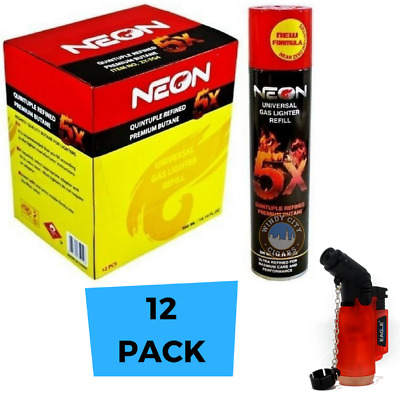 12 CANS Neon 5X BUTANE Wholesale Case Bulk Gas 5 X Refined 300ml with lighter
