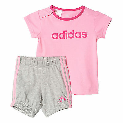 adidas Infant Kids Girls Summer Easy Outfit Set Pack Pink/ Grey