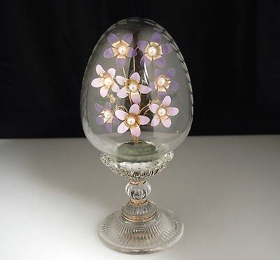 Austria Crystal Glass Egg with Enamel Flowers - Faberge by Franklin Mint
