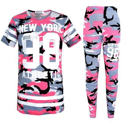 New Girls New York Pink Camo Camouflage Army Tracksuit Top & Leggings Age 2-13