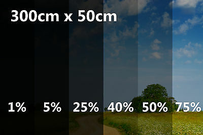 300cm x 50cm Limo Black Car Windows Tinting Film Tint Foil 1% 5% 25% 40% 50% 75%