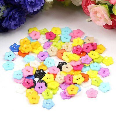 100pcs 12mm Mixed Color Plum Flower Resin Buttons Sewing Accessories FP5
