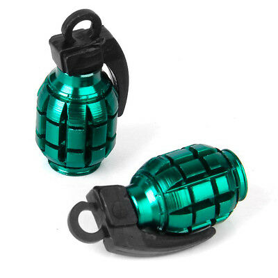 2pcs Bicycle Metal Grenade Shaped Tyre Valve Dust Cap Cover - Green FP5