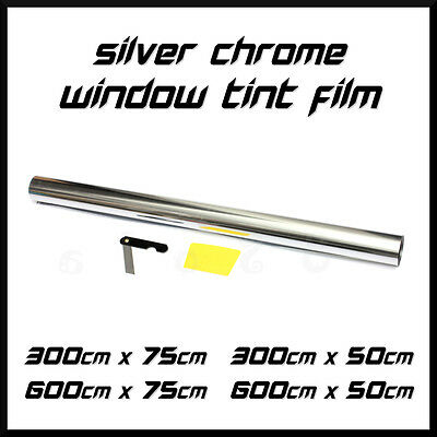 Chrome Silver One Way Mirror Limo Car Window Tinting Film Tint Foil Install Set