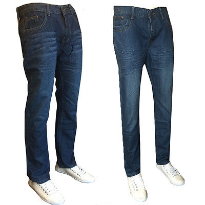 New Mens Straight Leg  Regular Fit  Jeans Pants  trousers All Waist