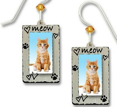 Orange Tabby Cat in Picture Frame Earrings, Meow & Hearts, cat lady gifts