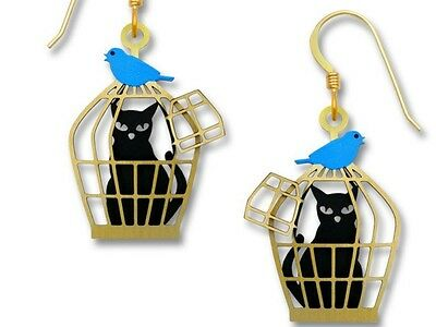 Black Cat in Cage with Bluebird Earrings, Etched Brass, Adorable Gift To Give