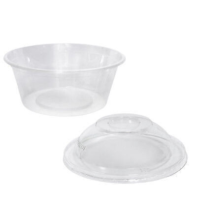 1000x Clear Plastic Container with Dome Lid 300mL Round Disposable Rice Dish NEW