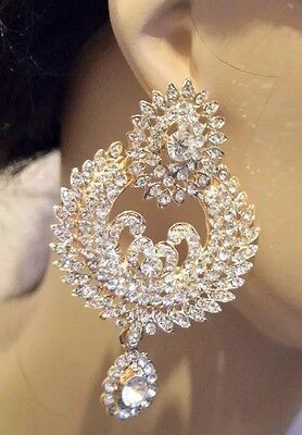 Women Crystal Diamante Rhinestone Gold Plated Party Wear Elegant Earring UK