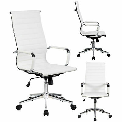PU Leather Executive Office Chair Swivel High Back Computer Desk Task Seat Brown