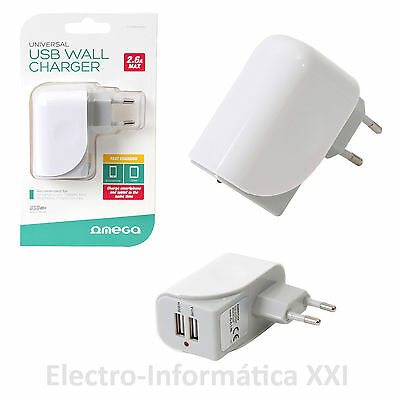 Cargador de pared 2 usb moviles smarthones tablets ultra rapido Enchufable Omega