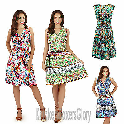 945be1a834 Ladies Floral/Paisley Sleeveless Short/Wrap Summer Beach Dress Size NEW 8 -  22