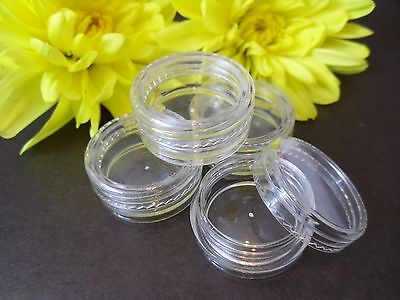 3ml Clear Plastic Pots Jar Nail Art Glitter Cream Travel Make Up Beads Screw Top