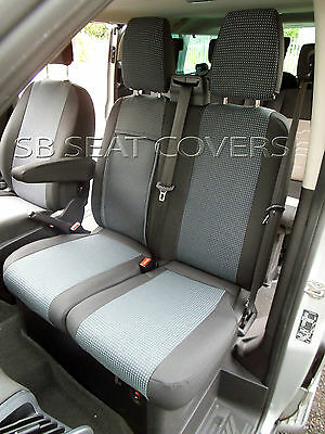 To Fit A Ford Transit Custom Van Seat Covers 2015 89A Fabric / Leatherette Trim
