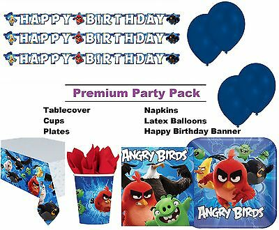 Angry Birds Movie 8-48 Guest Premium Party Pack - Tablewear | Banner | Balloons