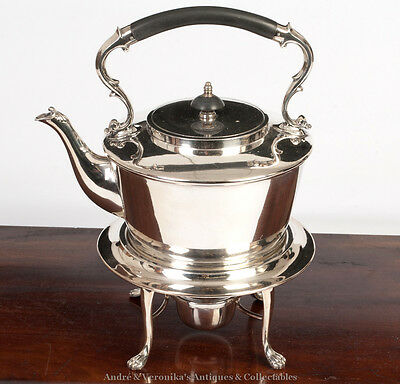Walker & Hall Sheffield Silver Plated TEAPOT SPIRIT KETTLE Stand Antique Vintage