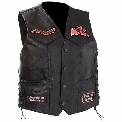 Women's Ladies Leather Motorcycle Vest with Patches