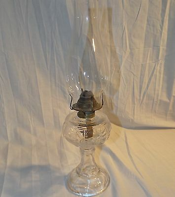 Beautiful Vintage Pressed Glass Oil Lamp, Exceptionally Clean, Ready to Use