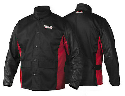 Lincoln K2987 Shadow Grain Leather Sleeved Welders Welding Jacket XL