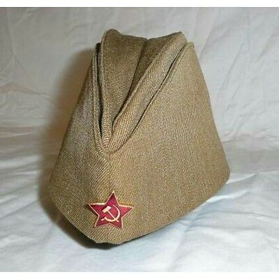 Soviet USSR Russian Red Army soldier garrison field cap military surplus hat