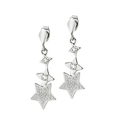 Morellato Triple Silver Star Drop Earring with Swarovski Crystals - SACR13