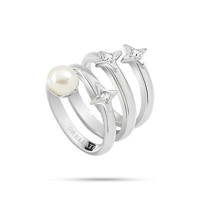 Morellato Triple Silver Star Ring with a Natural Fresh Water Pearl - SACR10
